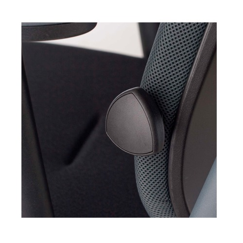 Lumbar support upholstered. Depth adjustement with knob